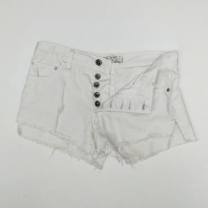 Free People white button fly distressed cutoffs